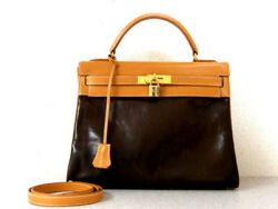 Hermes Kelly 32 Amazonia Shoulder Hand Bag Leather Brown W Cadena Strap Used