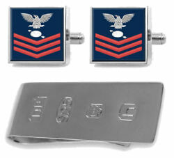Sterling Cufflinks Money Clip U.s Navy Red E-6 Operations Specialist Os
