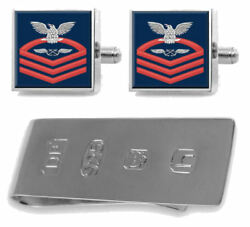 Sterling Cufflinks Money Clip Navy Chief Red E-7 Aviation Boatswainand039s Mate Ab