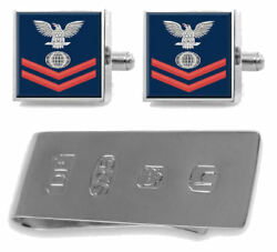 Sterling Cufflinks Money Clip U.s Navy Red E-5 Electricianand039s Mate Em