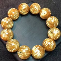 20mm Big! Natural Gold Titanium crystal Round Crystal Beads Bracelet