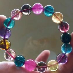 12.3MM Big! Genuine Natural Clean Colorful Tourmaline Crystal  Bracelet AAAAAA