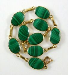 Vintage 18k Yellow Gold And Green Malachite Link Bracelet Oval Gemstones