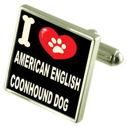Silver 925 Cufflinks And Bond Money Clip - I Love American English Coonhound