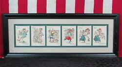 Vintage Antique Victorian Tennis Themed Playing Cards Framed Group Of 6 Nice
