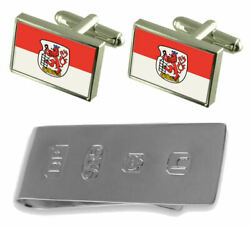 Wuppertal City Germany Flag Cufflinks And James Bond Money Clip