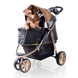 ibiyaya 3 Wheel Double Dog Stroller for Large and Medium Dogs with Cup Holders