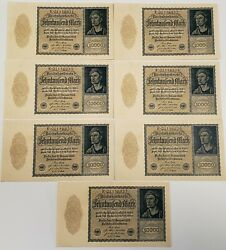 1922 Germany 10000 Mark - 7 Consecutive Serial Numbers P 72