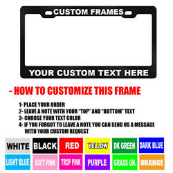 CUSTOM Personalized BLACK metal License Plate Frame Tag Cover Car Auto Shields $11.50
