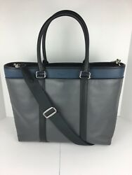 COACH F57568 Business Tote Crossbody Bag Men's Leather Black Graphite Blue NWT
