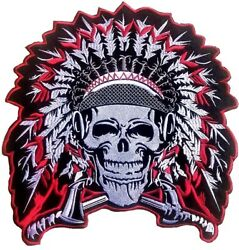 Motorcycle Indian Patch Head Skull Wings Axe Skull Indian Head Biker Patches