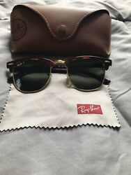 Ray Ban Clubmaster Sunglasses with Tortoise Frames and Green Polarized Lenses $150.00