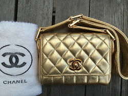 CLASSIC CHANEL Gold Quilted Leather Mini Flap Purse Evening Bag - EUC GORGEOUS