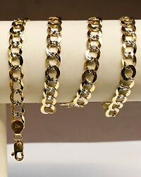 14kt Solid Yellow+white Gold Pave Curb Link 24 7 Mm 27 Grams Chain/necklace