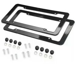 Black Car Carbon Look License Plate Frame Cover Front And Rear Universal