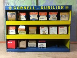 Vintage Cornell Dubilier 3 Metal Shelf Capacitor Display Storage And 16 Capacitors