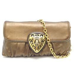 Auth Gucci Bronze Leather Hysteria Chain Shoulder Bag Clutch 208710 (DH45598)