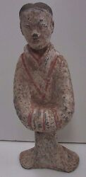 Antique Chinese Pottery Statue Painted Terracotta Clay
