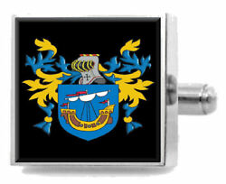 Timms England Heraldry Crest Sterling Silver Cufflinks Engraved Message Box