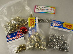 Lot Of 200 Misc Size Craft Jingle Bells 6mm,12mm,18mm,32mm Silver Brass