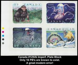 Canada 1292b Imperf Plate Block Upper Left Error 39c Folklore, Only 16 Known