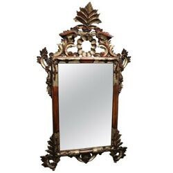 20th Century Italian Antique Louis Xv Style Silvered Wood Wall Mirror