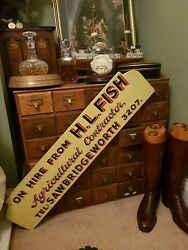 Vintage Wooden Sign Yellow Black Agricultural Industrial Salvage Shop Display