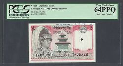 Nepal 5 Rupees Nd1985-2000 P30s Signature 10 A Proposed Specimen Uncirculated