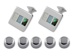 Sterling Silver Mother Of Pearl And Abalone Shell Cufflinks Shirt Dress Studs Set