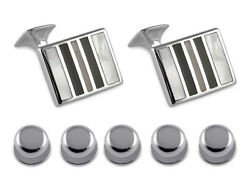 Sterling Silver Mother Of Pearl And Onyx Striped Cufflinks Shirt Dress Studs Set