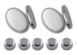 Sterling Silver Double-sided Oval Cufflinks Shirt Dress Studs Gift Set