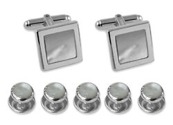 Sterling Silver Mother Of Pearl Square Cufflinks Shirt Dress Studs Gift Set