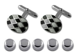 Stering Silver Black And White Enamel Chequered Cufflinks Shirt Dress Studs Set