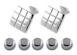 Sterling Silver Chequered Square Cufflinks Shirt Dress Studs Gift Set