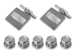 Sterling Silver Mother Of Pearl Chain Link Cufflinks Shirt Dress Studs Gift Set