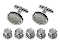 Sterling Silver Mother Of Pearl Oval Cufflinks Shirt Dress Studs Gift Set