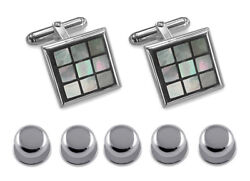 Sterling Silver Blue Mother Of Pearl Chequered Cufflinks Shirt Dress Studs Set