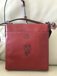 NWT COACH Minnie Mouse Messenger Crossbody Disney Leather $175 Red 37534 $159.60