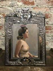 French Modern OilCanvas Nude in Repousse Silver Plated Frame