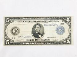 1914 Blue Seal Five Dollar Lincoln Large Federal Reserve Note