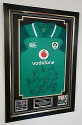 ** Rare IRELAND 2018 GRAND SLAM SIGNED SHIRT AUTOGRAPHED JERSEY Display **
