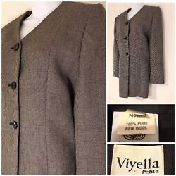 Viyella Women's Jacket Size 12 Petite Grey Smart Long Blazer Lined 100% New Wool