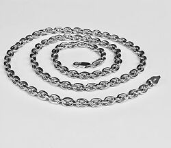 10kt Solid White Gold Handmade Rolo Link Menand039s Chain/necklace 24 48 Grams 5.2mm