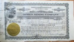 Option Mining Company 1920s Stock Certificates - 100 Pieces - Wallace Idaho Id