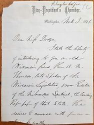 Schuyler Colfax 1871 Als Autograph Letter Signed - Vice President Of The Usa