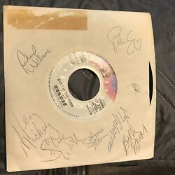 Kansas Dust In The Wind 45 Sleeve Autographed Plain Sleeve By 7 Members Rare