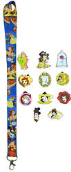 Belle - Beauty And The Beast Starter Lanyard Set W/ 5 Disney Trading Pins - New