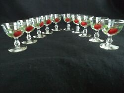 Franciscan Apple Painted Crystal 10 Sherbet Stems Or Dessert Dishes Mid-century