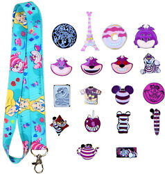 Cheshire Cat Themed Starter Lanyard Set with 5 Disney Park Trading Pins NEW