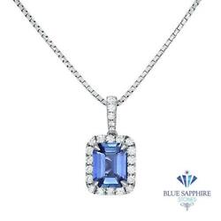 Certified 2.35ct Emerald Blue Sapphire Pendant And Diamonds In 18k White Gold